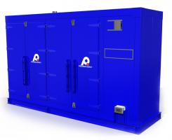 Blue industrial drum oven for fast heating