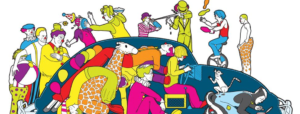 Bright graphic drawing of a large group of clowns getting into a clown car.