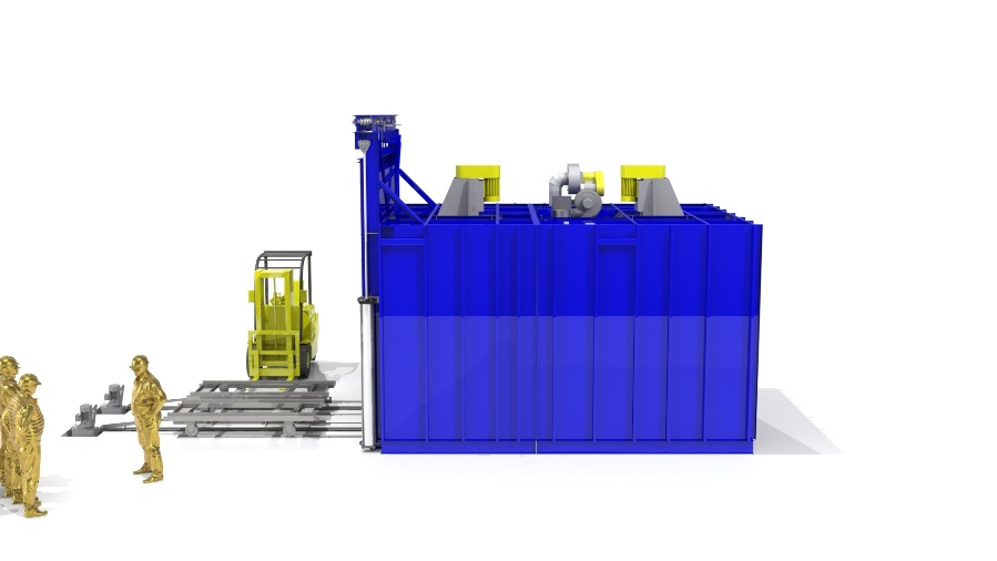 Sideview of an industrial oven used for cleaning fiberglass rolls with a forklift beside the oven.
